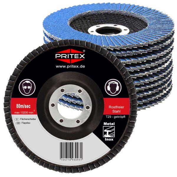 Fächerscheiben Inox 125 mm 120 Stück Korn 60 für Edelstahl