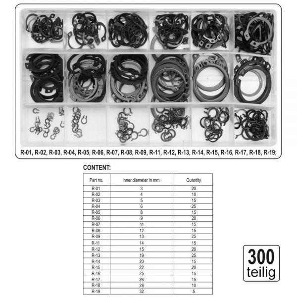 300tlg Sicherungsringe Seegerringe Sprengringe 1.5-22.0 Mm Ringe Seegeringe