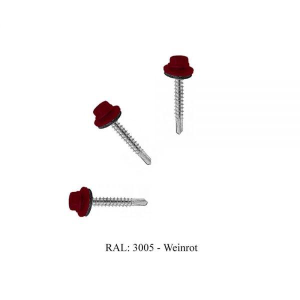 Bohrschrauben 4,8 x 35 mm RAL: 3005 Weinrot