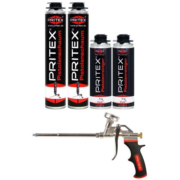 XXL Set Pistolenschaum 2 x 750ml + 2 Reiniger und 1 Pistole Bauschaum