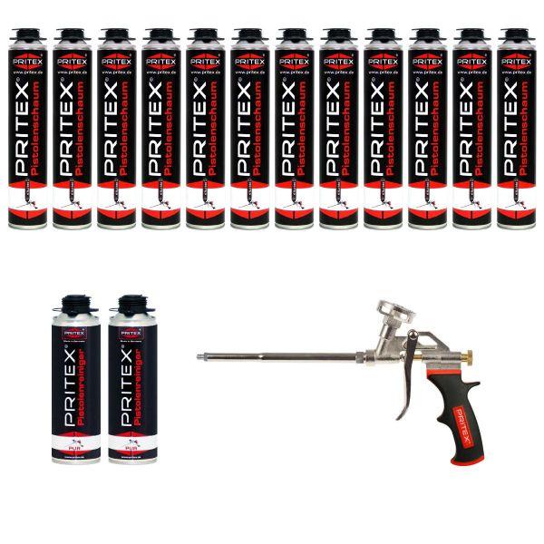XXL Set Pistolenschaum 12 x 750ml + 2 Reiniger und 1 Pistole Bauschaum