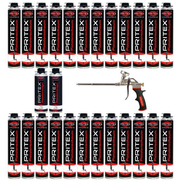 XXL Set Pistolenschaum 24 x 750ml + 2 Reiniger und 1 Pistole Bauschaum