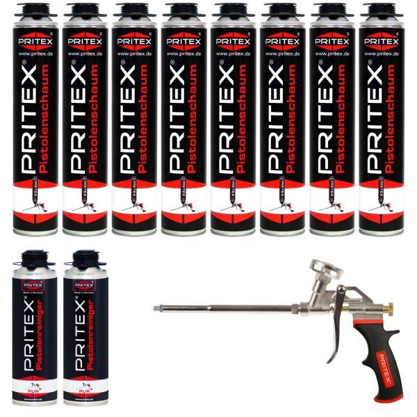 XXL Set Pistolenschaum 8 x 750ml + 2 Reiniger und 1 Pistole Bauschaum