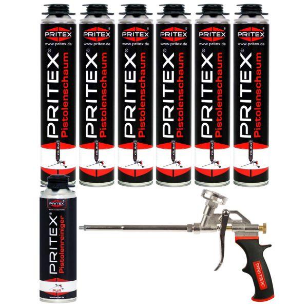 XL Set Pistolenschaum 6 x 750ml + 1 Reiniger und 1 Pistole Bauschaum