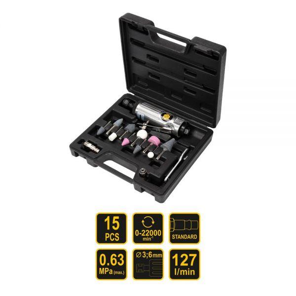 Druckluftschleifer 15 tlg + Koffer